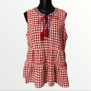 Signature Collection Sleeveless Tunic XL Red White